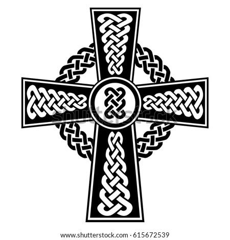 Celtic Style Cross Eternity Knots Patterns Stock Vector 615672539