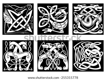 Celtic styled abstract animals and birds decorated ornament in traditional ethnic irish style on black background for tattoo or totem design  - stock vector