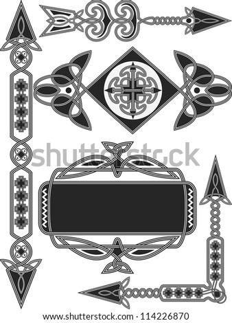 Celtic traditional elements for design in a vector - stock vector