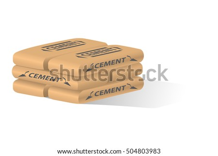 Cement bag. Paper sack isolated on white background.