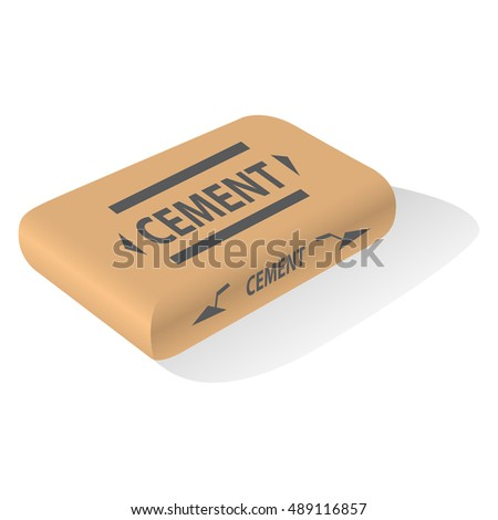 Cement bag. Paper sack isolated on white background. Vector illustration.