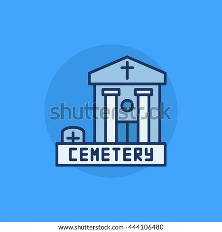 Cemetery building flat icon - vector blue colorful symbol. Graveyard flat sign - stock vector