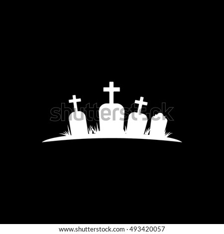 Cemetery Halloween Concept Flat Icon On Black Background