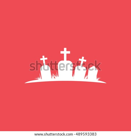 Cemetery Halloween Concept Flat Icon On Red Background