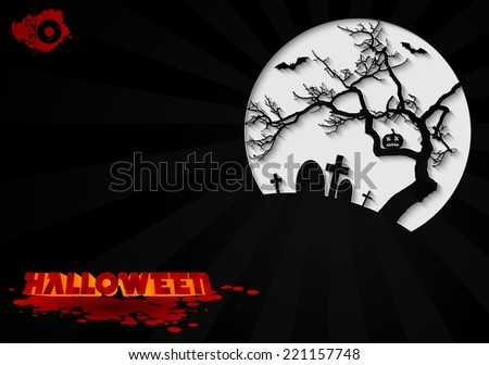 Cemetery with old tree on a black background with the inscription Halloween - stock vector