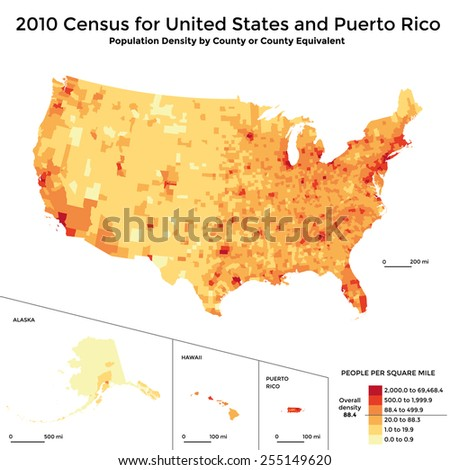 Census 2010 map - population density USA and Puerto Rico - stock vector