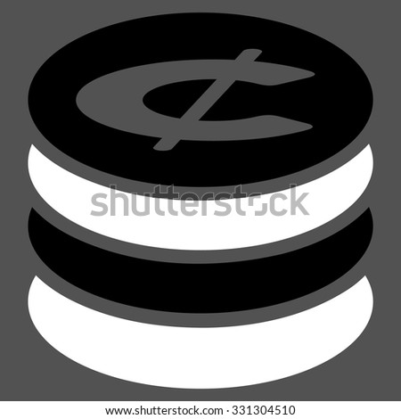 Cent Coins vector icon. Style is flat bicolor black and white symbol, rounded angles, gray background.