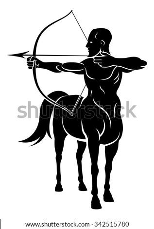 Centaur archer half horse half man character shooting a bow and arrows - stock vector