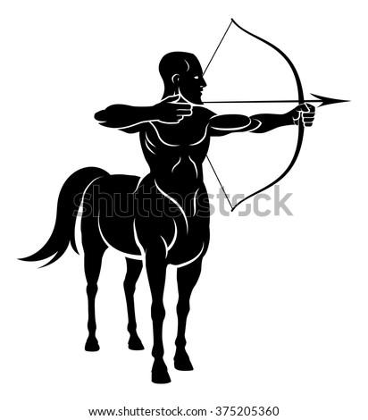 Centaur concept of mythical centaur archer half horse half man character holding a bow and arrows - stock vector
