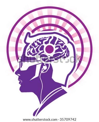 Center Brain Activity Pineal Gland - stock vector
