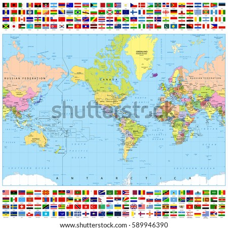 Centered america political world map all stock vector 589946390 centered america political world map and all world flags highly detailed vector illustration of world gumiabroncs Images