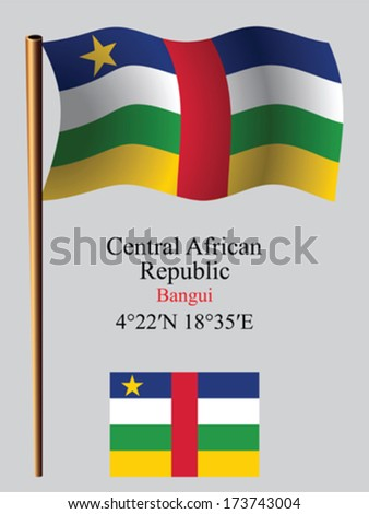 central african republic wavy flag and coordinates against gray background, vector art illustration, image contains transparency