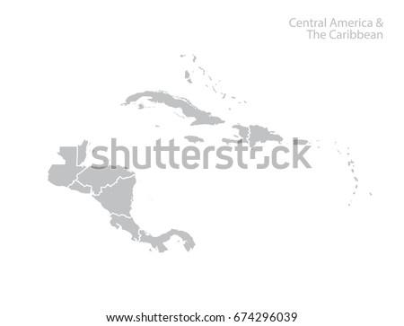 Central America Caribbean Map Stock Vector 674296039 - Shutterstock