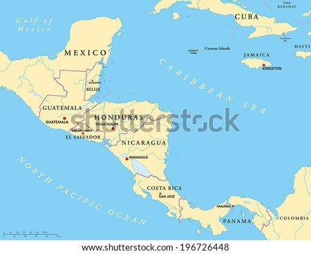 Central America Political Map with capitals, national borders, rivers and lakes. Vector illustration with English labeling and scaling.