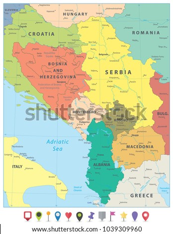 Central Balkan Region Political Map Flat Stock Vector 1039309960