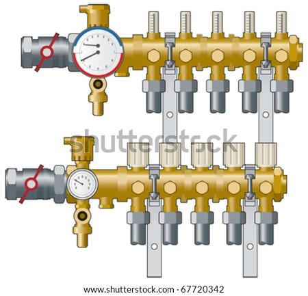 Central heating manifold, pipework and  gauges vector illustration - stock vector