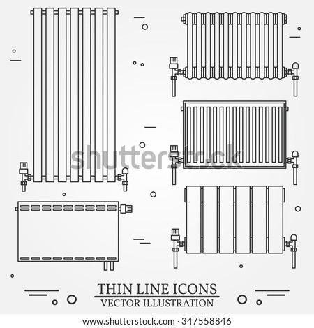 Central heating radiators icons thin line stock vector 347558846 central heating radiators icons thin line for web and mobile modern minimalistic flat design ccuart Gallery