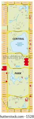 central park map, new york city - stock vector