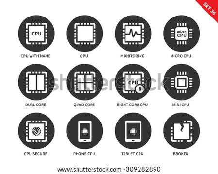 Central processing unit vector icons set. Computing and technology concept. Icons for computers and mobile devices, monitoring, micro  and mini cpu, dual core, cpu secure. Isolated on white background - stock vector