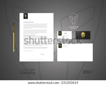 Centurion warrior helmet logo design element. Security visual identity. Elegant minimal style corporate identity template. Letter envelope and business card design. Vector illustration. - stock vector