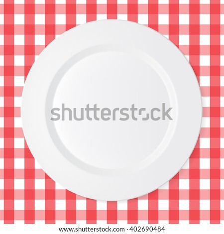Ceramic circle white plate with red checkered tablecloth