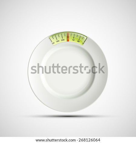 Ceramic plate in the form of scales for weighing. Vector image. - stock vector