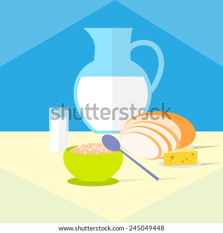 cereal bowl with milk bread and cheese healthy food breakfast flat icon design vector illustration