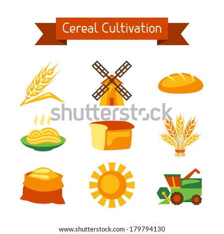 Cereal cultivation and farming icon set. - stock vector