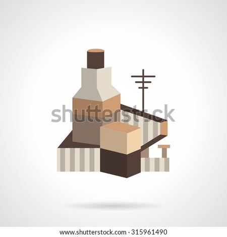 Cereal or grain factory. Flat vector icon. Storage facility cereals, silos and drying towers. Design symbols for website and business. - stock vector