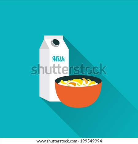 cereals with milk icon - stock vector