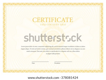 Certificate. Award background. Gift voucher. Template diplomas currency Vector illustration - stock vector