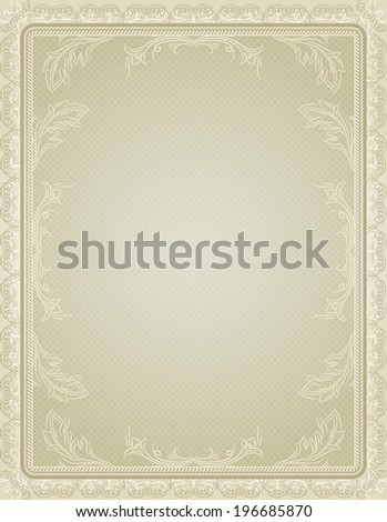 certificate background with calligraphic lines, vector - stock vector