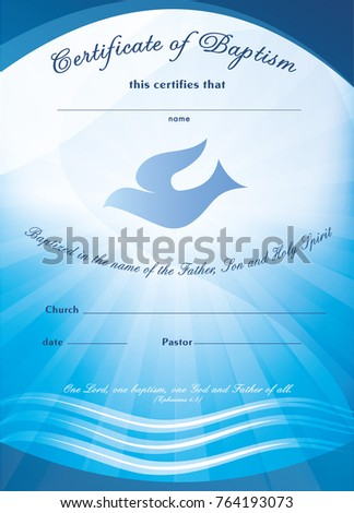 Certificate Baptism Template Waves Water Dove Stock Vector 764193073