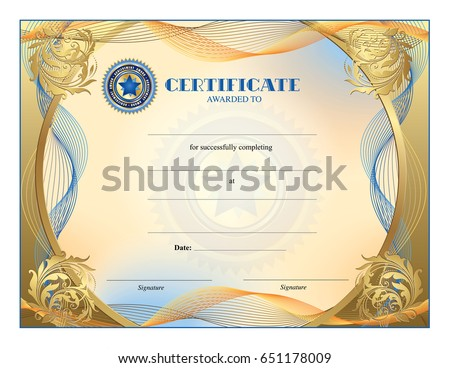 Certificate blank template award achievement graduation stock photo certificate blank template for award achievement graduation wavy lines border yelopaper Images