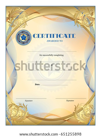Certificate blank template completion award achievement stock certificate blank template for completion award achievement graduation wavy lines border yadclub Choice Image