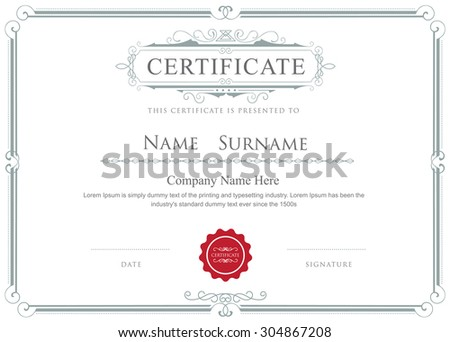 Certificate border vector elegant flourishes template - stock vector