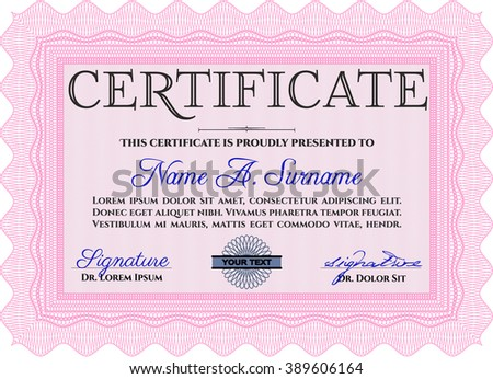 Certificate. Complex design. Printer friendly. Detailed. Pink color.