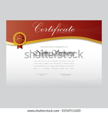 Certificate Design Template Best Award Stock Vector 1056911600