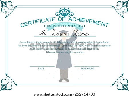 certificate design template certificate of achievement graduate student certificate