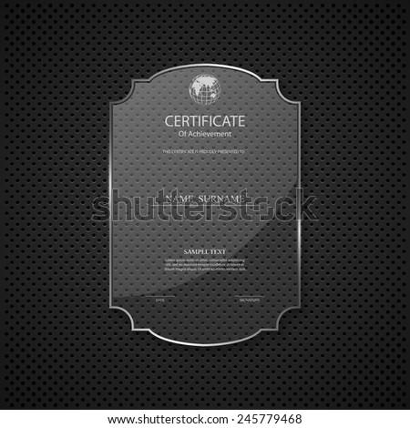Certificate design template on glass frame - stock vector