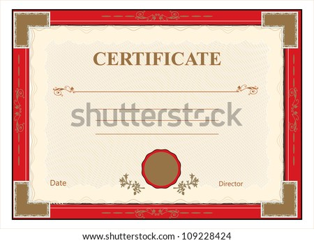 certificate, diploma for print vector - stock vector