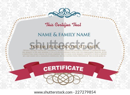 Certificate, Diploma of completion (design template, background). Floral (scroll, swirl) pattern (watermark), border, frame. Blue Certificate of Achievement, Certificate of education, awards, winner  - stock vector
