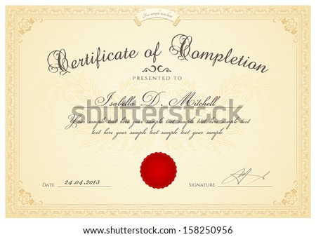 Certificate diploma completion design template background certificate diploma of completion design template background with guilloche pattern watermark yelopaper Images