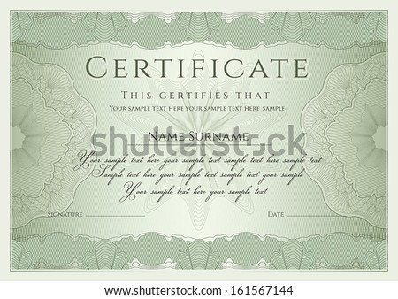 Certificate, Diploma of completion (design template, background) with guilloche pattern (watermark), rosette, border, frame. Green Certificate of Achievement / education, coupon, award, winner. Vector - stock vector