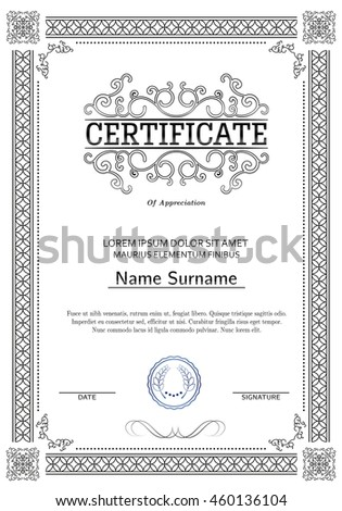 Certificate diploma completion silver design template stock vector certificate diploma of completion silver design template white background with pattern yadclub Gallery