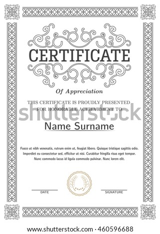 Certificate, Diploma of completion (silver design template, white background) with pattern, scroll border, frame. Vector.