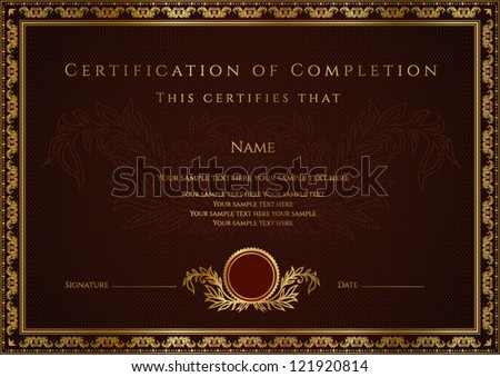 Certificate / Diploma of completion. Vector template - stock vector