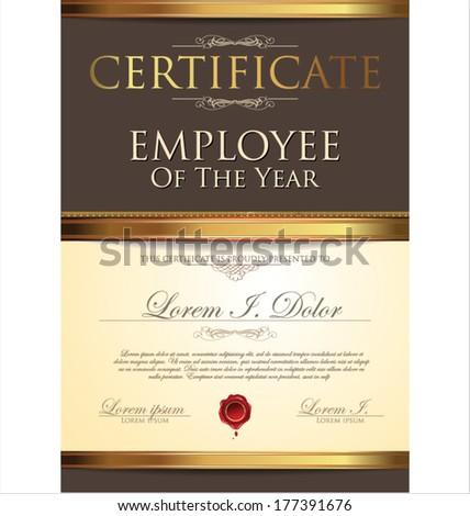 Certificate Employee Year Stock Vector (2018) 177391676 - Shutterstock