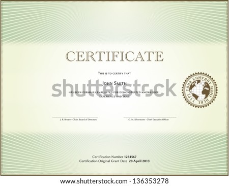 Certificate form - stock vector