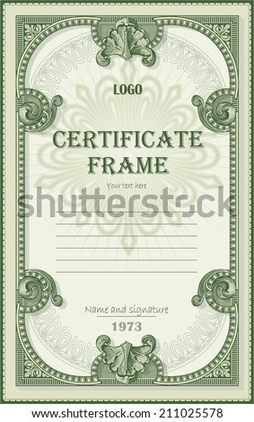 Certificate from dollar decor elements - stock vector